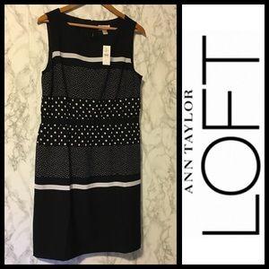 NWT! Ann Taylor LOFT Striped Floral Career Dress L